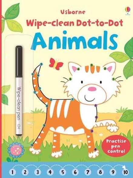Animals wipe and clean dot to dot book