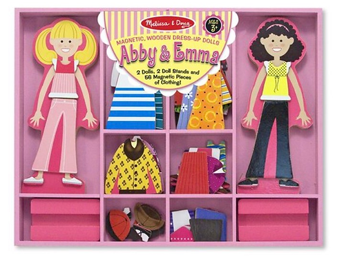 Wooden magnetic dress up girls abby and emma