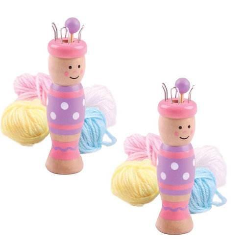Bigjigs wooden toy knitting doll