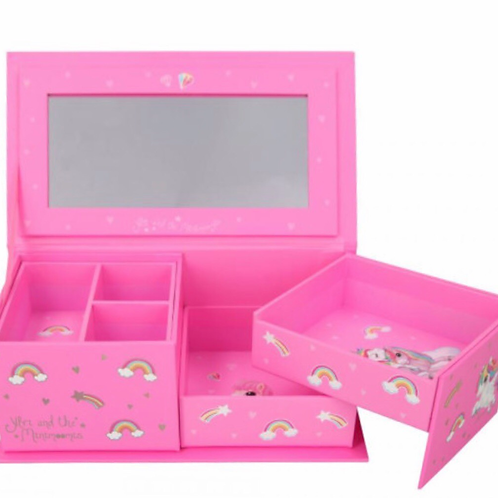 Depesche unicorn jewellery box pink with mirror