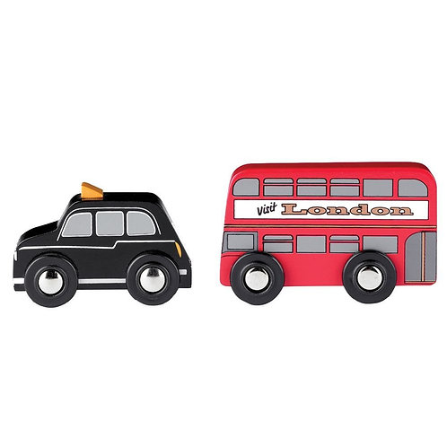 Bigjigs wooden car bus and cab