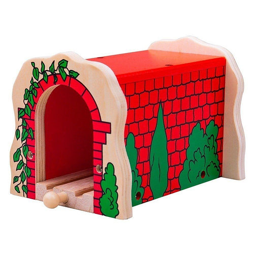 Bigjigs red wooden toy train tunnel