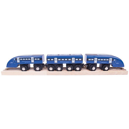 Bigjigs wooden blue high speed toy train
