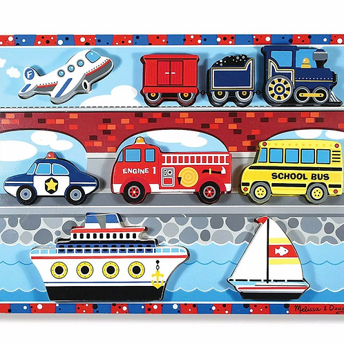 Wooden vehicles toy puzzle