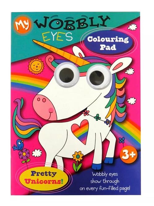 Wobbly eyes unicorn colouring book