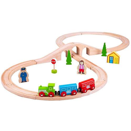 Bigjigs figure of eight 8 wooden train set