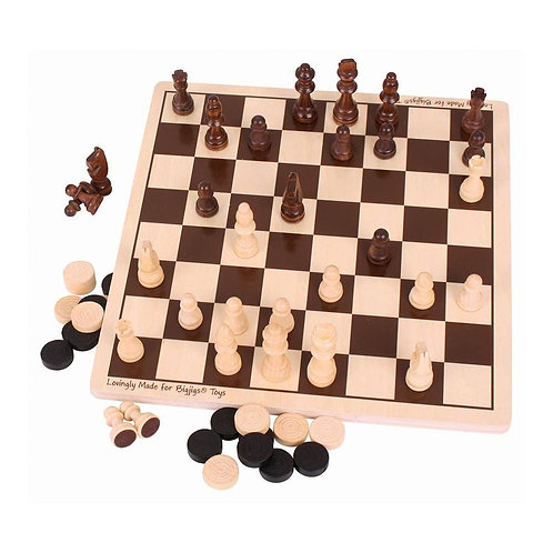 Bigjigs wooden board game chess and draughs