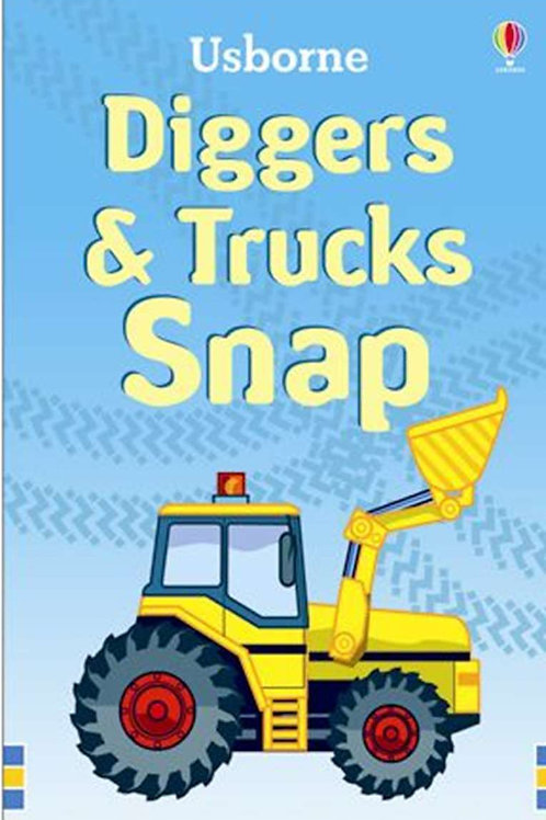 Diggers and trucks snap cards usborne