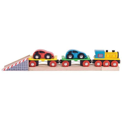 Bigjigs wooden toy train car loader