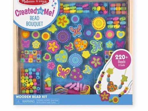 Colourful wooden beads bouquet children craft decoration set