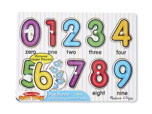 Peg Number puzzle wooden