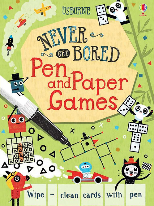 Pen and paper games on wipe and clean cards