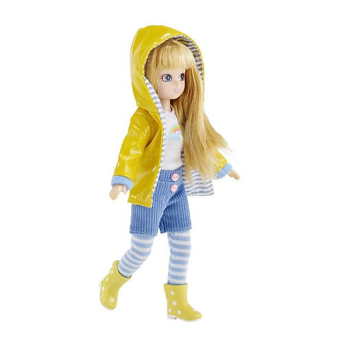 Lottie doll toy muddy puddles with raincoat