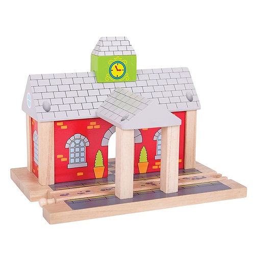 Bigjigs red wooden railway station toy