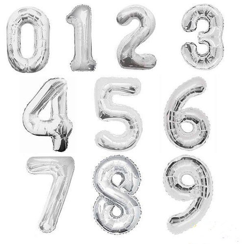 Balloons - Big Number Foil Balloon Silver