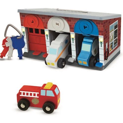 Wooden recuse vehicle garage keys and cars set