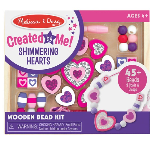 Wooden shimmering hearts beads kids set melissa