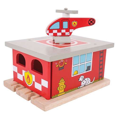 Bigjigs red wooden toy shed fire station with helicopter