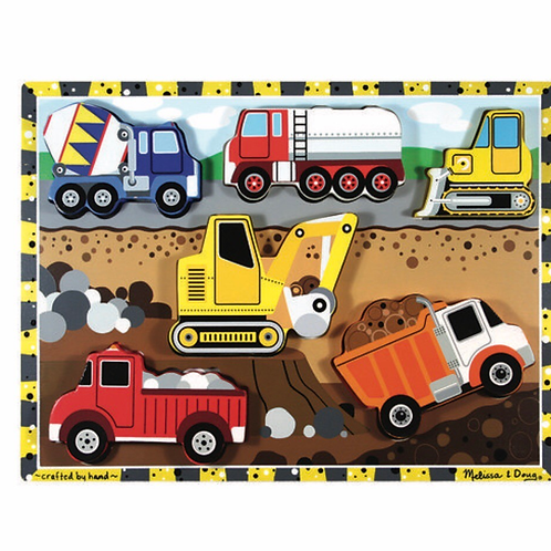 Wooden construction vehicles toy puzzle