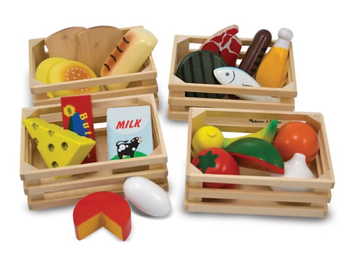 Pretend play wooden food groups