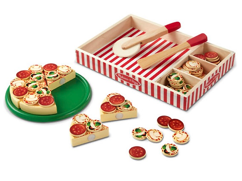 Pretend play wooden pizza set