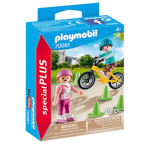 Girl with skates and boy with bike toy figures playmobil