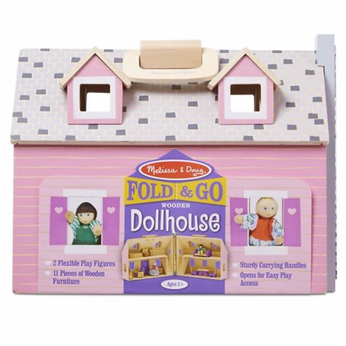 Fold wooden dollhouse pink