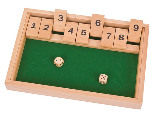 Bigjigs game traditional wooden shut the box number dice