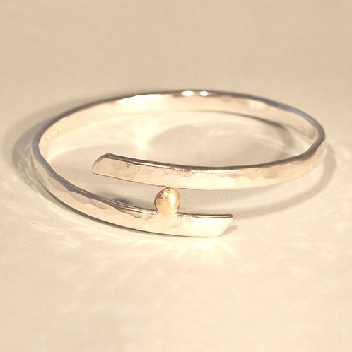 Overlap Bangle with Gold Nugget