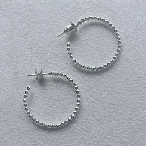 Pearl Silver Hoop Earrings