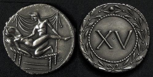 Erotic token Spintriae XV Rome 1st century AD fine silver replica coin
