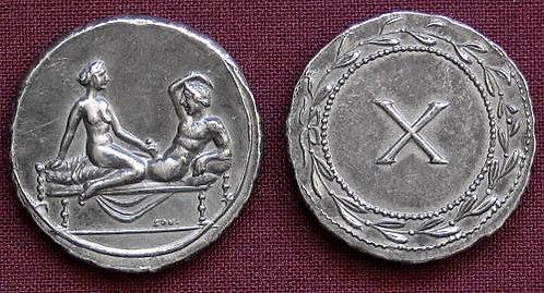 Erotic token Spintriae X Rome 1st century AD tin replica coin