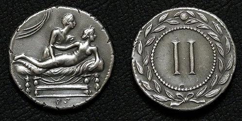 Erotic token Spintriae II Rome 1st century AD fine silver replica coin