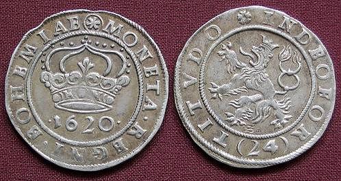 Czech evangelical Estates 24 Kreuzer Bohemia 1620 fine silver replica coin