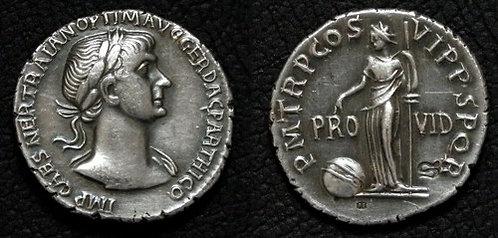 Trajan Denarius Rome 98-117 AD fine silver replica coin