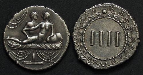 Erotic token Spintriae IIII Rome 1st century AD fine silver replica coin