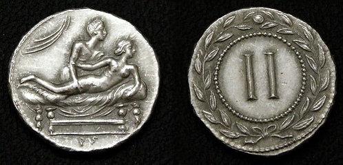 Erotic token Spintriae II Rome 1st century AD tin replica coin
