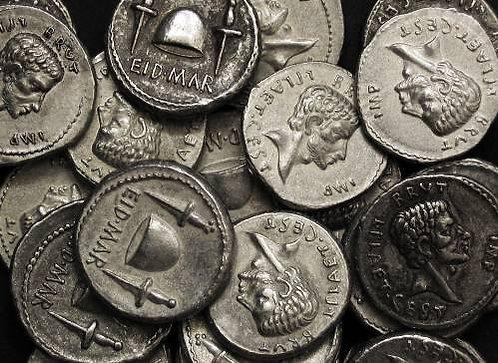 Brutus Denarius Rome 85-42 BC tin replica coin