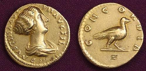 Faustina Junior Aureus Rome 161-175 AD fine gold replica coin