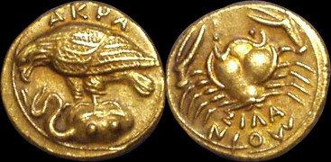 Akragas Diobol Greece 413-406 BC fine gold replica coin