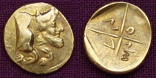 Gela 1 and 1/3 Litra Greece 5th century BC fine gold replica coin
