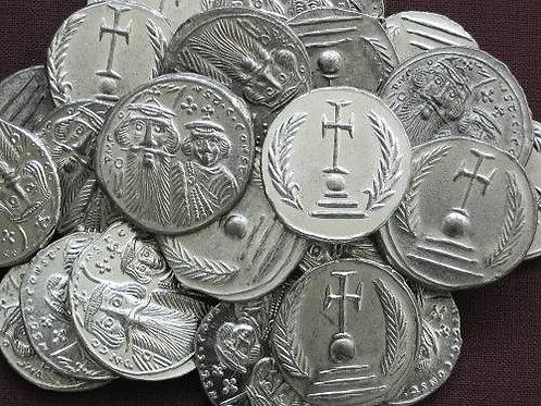 Konstans II. and Konstantin IV. Milliarense Byzantine 641-668 AD tin replica coi