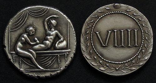 Erotic token Spintriae VIIII Rome 1st century AD fine silver replica coin