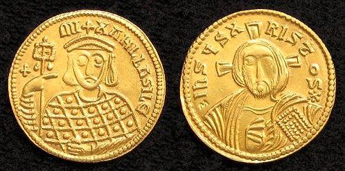 Michael III Solidus Byzantine 842-867 AD fine gold replica coin