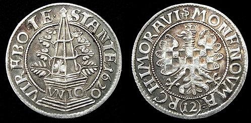 Moravian evangelical Estates 12 Kreuzer Moravia Brno 1620-1621 fine silver repli