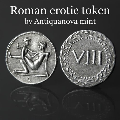 Erotic token Spintriae VIII Rome 1st century AD tin replica coin