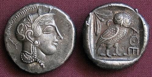 Athens Tetradrachm Greece 455-449 BC fine silver replica coin