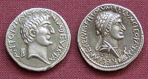 Marcus Antonius and Cleopatra Denarius Rome 34 BC fine silver replica coin