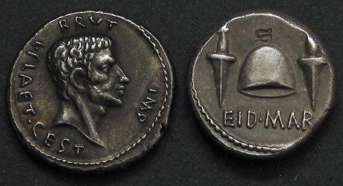 Brutus Denarius Rome 85-42 BC fine silver replica coin