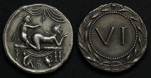 Erotic token Spintriae VI Rome 1st century AD fine silver replica coin